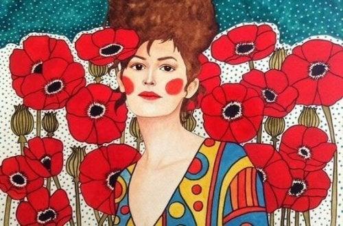 Frau mit roten Wangen inmitten von Mohnblumen