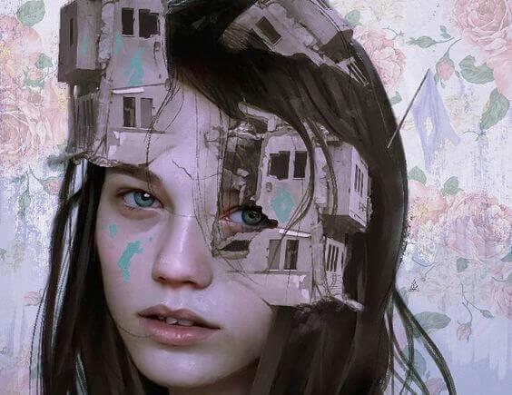 Verunsicherte Frau mit Häusern im Kopf