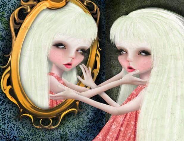 Frau schaut in einen Spiegel und ihr Spiegelbild greift nach ihr