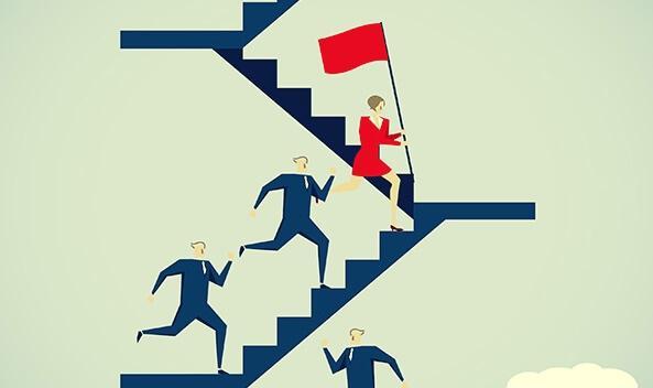 Frau überholt Männer auf einer Treppe