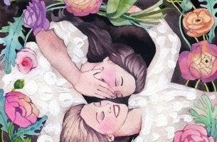 Emotionale Ansteckung unter Freundinnen, die beide kichern