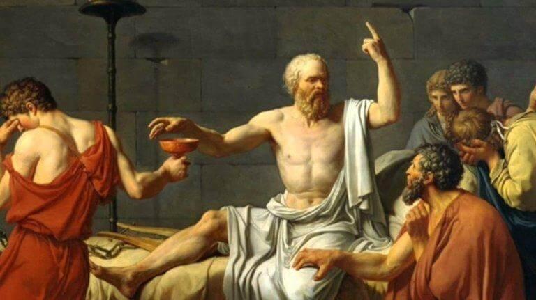 EIn Gemälde mit einer Darstellung aus dem antiken Griechenland. Ein Mann hält eine Rede und 5 Männer stehen um ihn herum.