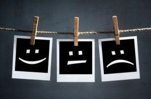 Stimmungsschwankungen regulieren - Polaroids zeigen Gesichter mit verschiedenen Emotionen