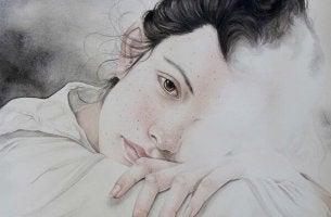Gefühlskälte - Zeichnung eines Teenagers, dessen halbes Gesicht fehlt.