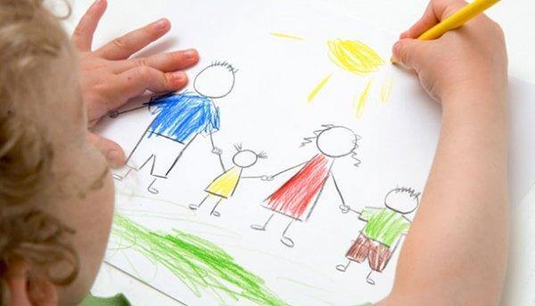 Kind zeichnet seine Familie