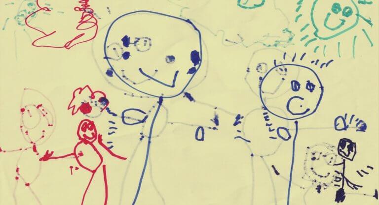 Von einem Kind gezeichnete Familie