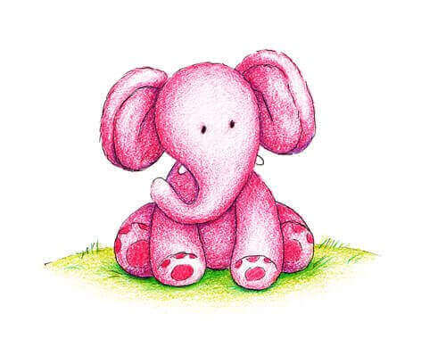 Kleiner rosaroter Elefant