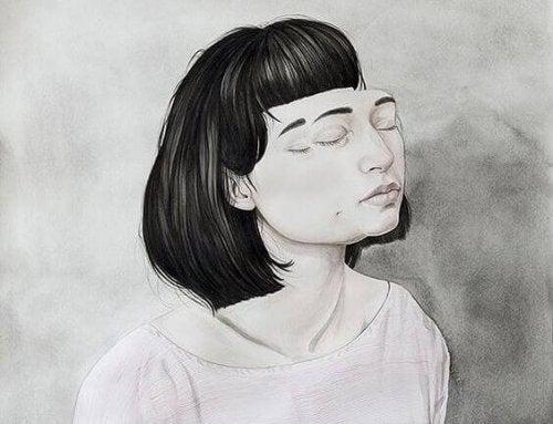 Zeichnung eines Mädchens, mit aufgelegtem, doppelten Gesicht.