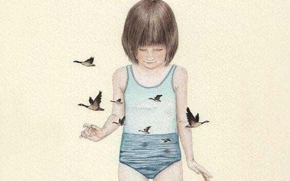 Zugvögel in der Luft fliegen mit einem Kind.