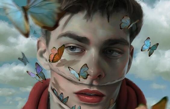 Schmetterlinge fliegen um das Gesicht eines Mannes herum