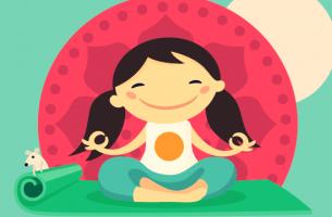 Atemübungen für Kinder - meditierendes Mädchen