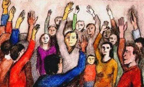Menschen heben ihre Hände und signalisieren damit Einigkeit