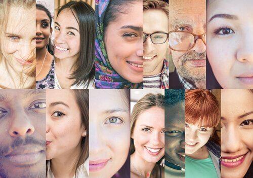 Ein Mosaikfoto von vielen Menschen aus verschiedenen Kulturkreisen