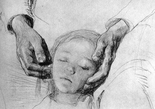 Zeichnung eines Elternteils mit Tochter