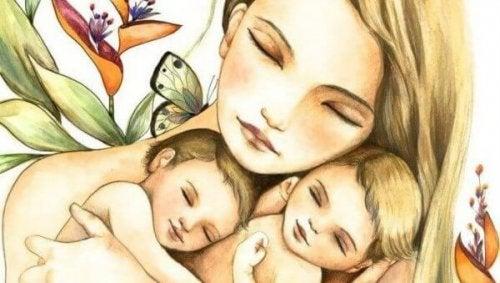 Eine Mutter und ihre Kinder