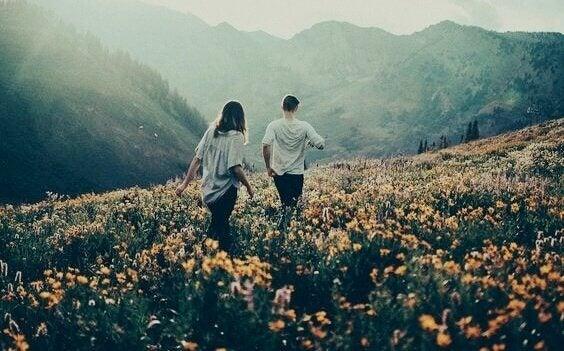 Paar geht auf einer Blumenwiese