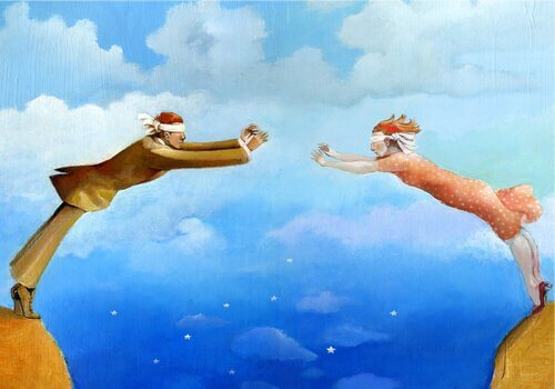 Kognitive Verzerrungen in Beziehungen - Ein Paar mit verbundenen Augen versucht, sich über einen Abgrund hinweg die Hände zu reichen.