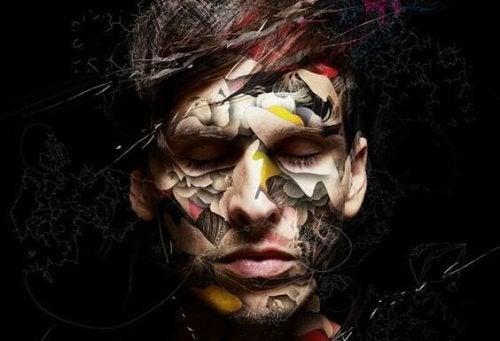 Paranoide Persönlichkeitsstörung - Gesicht eines Mannes mit geometrischen Formen
