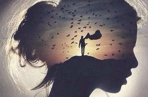 Zitate von Hermann Hesse - Profil einer Frau gegen in Feld mit Person und Vögeln