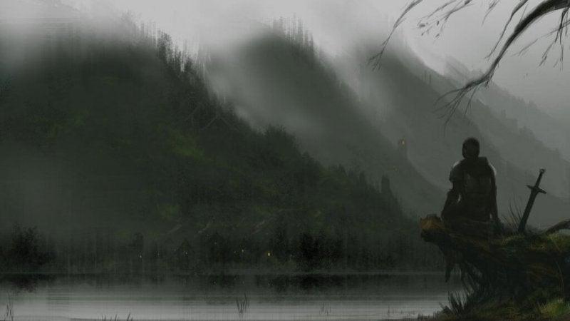 Ritter sitzt an einem dunkeln See