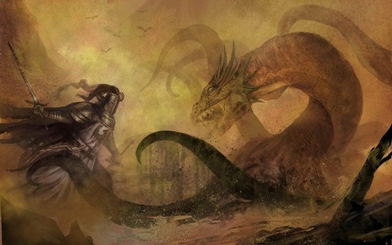 Ritter mit einem Drachen