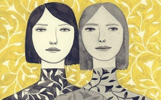 Zwillinge sind auf einer Wand abgebildet.