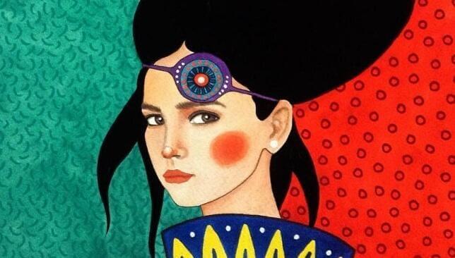 Selbstsichere Frau mit roten Backen