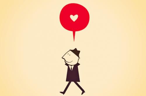 Mann mit einer Sprechblase über sich, in der ein Herz zu sehen ist