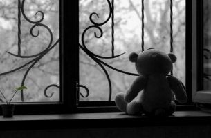 Trauertherapie - Teddy am Fenster