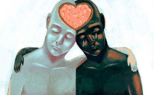 Zwei Figuren umarmen sich, versetzen sich in die Lage des anderen und zeigen Empathie