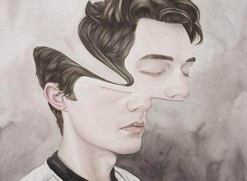 Zeichnung eines Jungen mit verzerrtem Gesicht