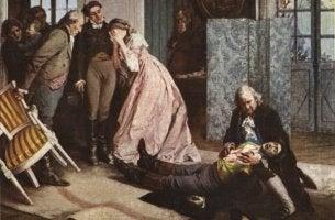 Werther-Effekt - Die Leiden des jungen Werthers und sein Suizid.