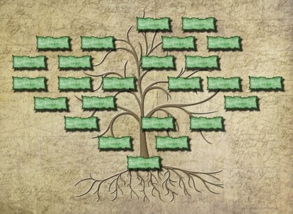 Beispielhafte Zeichnung eines Familienstammbaums, noch nicht ausgefüllt.
