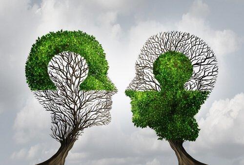 Zwei Bäume in Kopfform schauen sich an.