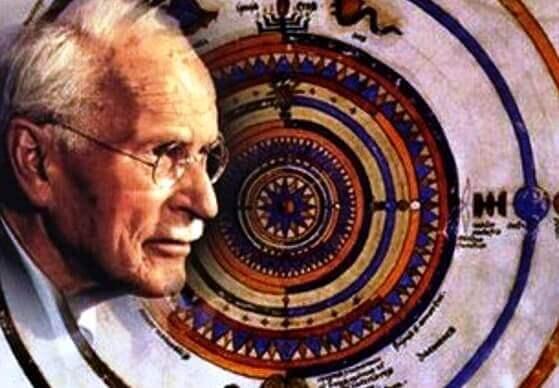 Der Kopf von Carl Gustav Jung, dargestellt vor einem bunten Hintergrund.