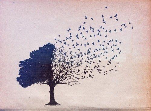 Blauer Baum aus dem Vögel fliegen