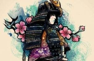 Gleichnis der geruchlosen Blumen - Samurai vor Blumen