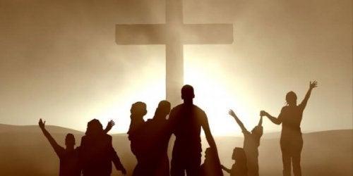 Christen mit einen Kreuz