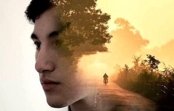 Das Bild einer Straße formt die Hälfte des Kopfes eines Mannes