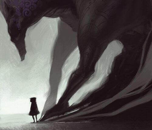 Ein böser Schatten folgt einer Figur