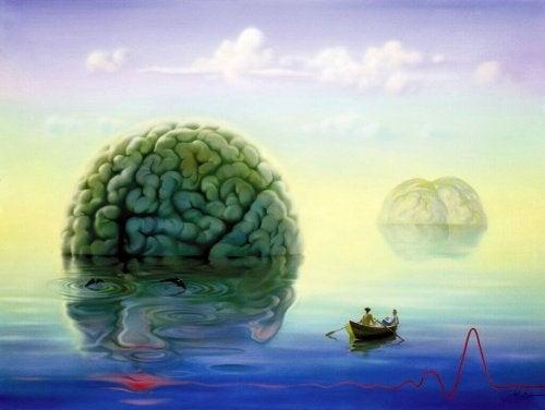 Ein Gehirn schwimmt in einem See
