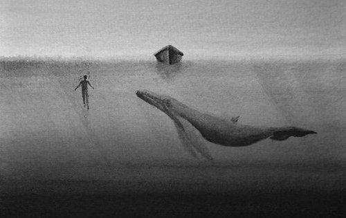 Wal unter einem kleinen Boot, vor dem ein Mensch geht