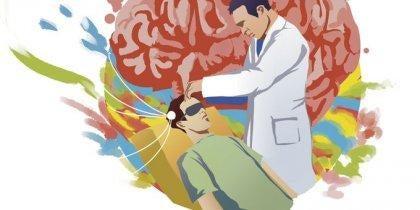 Ein Wissenschaftler führt ein telepathisches Experiment durch.