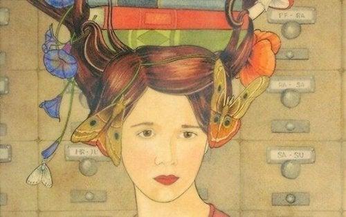 Frau mit Büchern auf Kopf