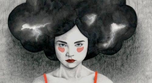 Frau mit Gewitterwolke als Haar