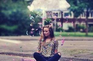 Zutaten fürs Glück - Frau unter eine Wolke
