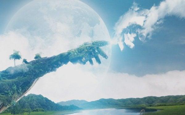 Religion erklären - Zwei ausgestreckte Zeigefinger begegnen sich im Himmel.