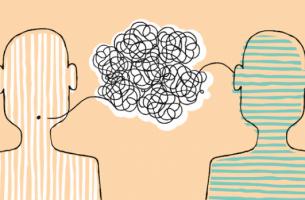 Unausgesprochene Vereinbarungen - zwei Figuren, die Kommunikation symbolisieren