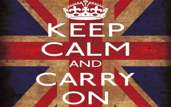 Ein englisches Plakat: Keep calm and carry on.