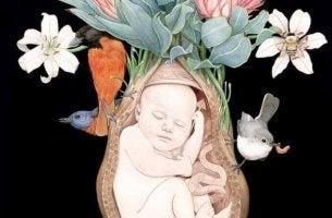 Präpartale Psychologie - Eine gemalte Darstellung eines Babys im Uterus.
